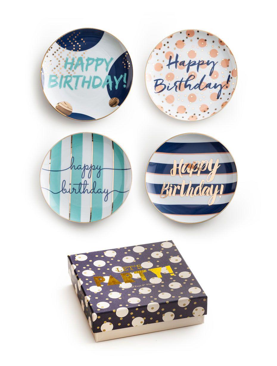 Let's Party Plates Happy Birthday S/4