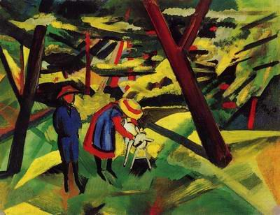 August Macke (German, 1887-1914) 'Children with a Goat', 1913