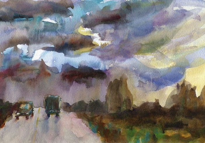 One of my paintings at marthameans.com  We were driving across the desert when a storm passed through. Amazing skies.