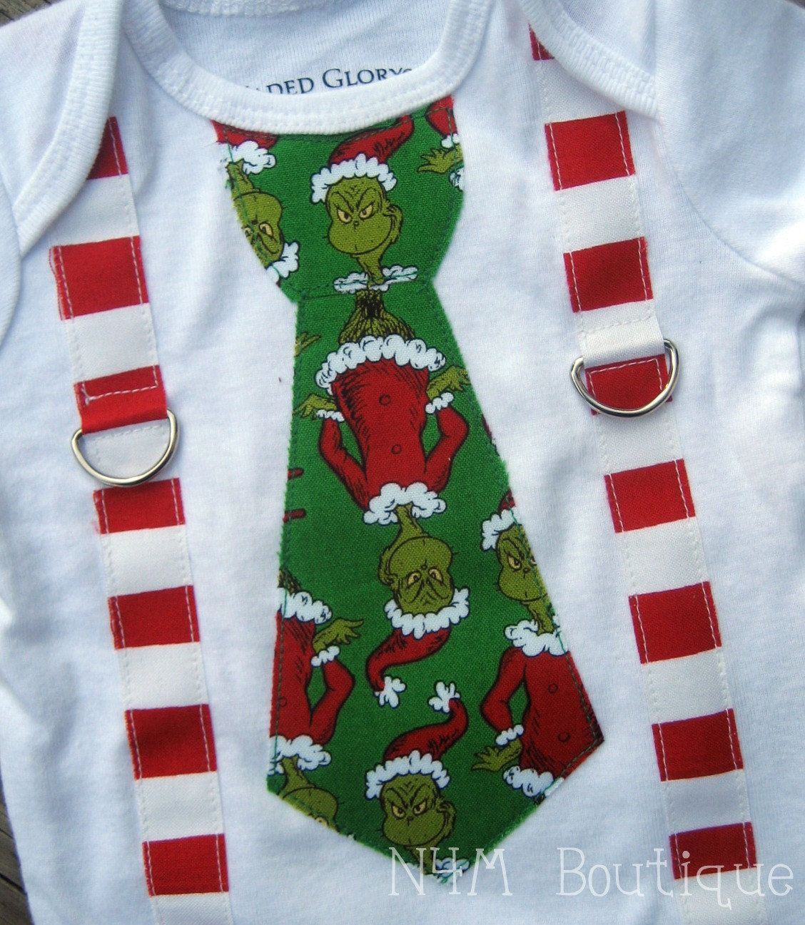 Grinch Stole Christmas Tie With Squiggly Suspenders Onesie