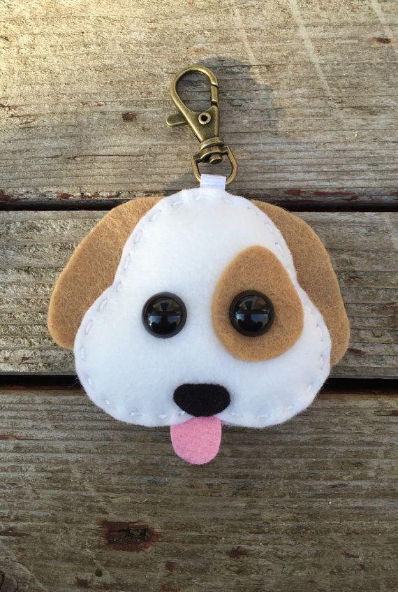 Emoji perro navidad ornamento peluche retrovisor espejo decoración llavero de fieltro de lana