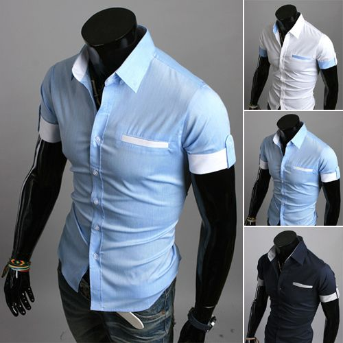 Free Shipping New 2016 Mens Short Sleeved Dress Shirts Cuff ...