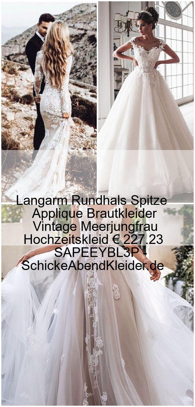Langarm Rundhals Spitze Applique Brautkleider Vintage Meerjungfrau Hochzeitskleid € 227.23 SA... #spitzeapplique