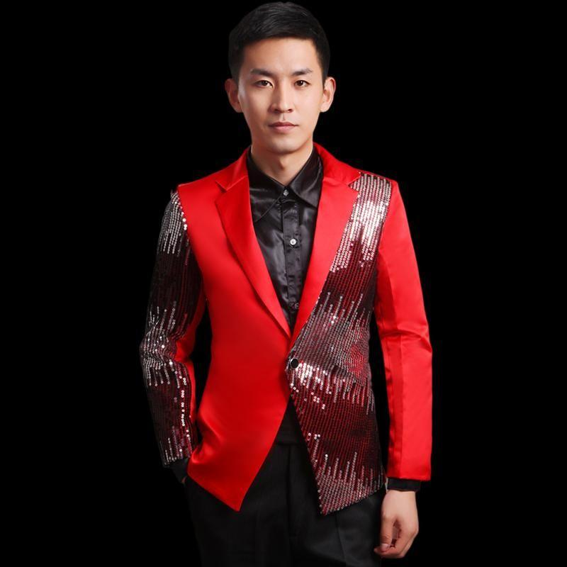 Moderator clothes paillette male master Sequin Dresses Stage Costumes Men  terno Suit MC Host Clothing Singer Suits Blazer jacket 85c2b754e428