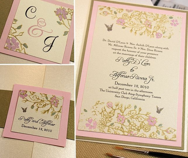 Merveilleux Rhinestone Buckle Custom Invitations With Butterflies, Pink And Ivory  Wedding
