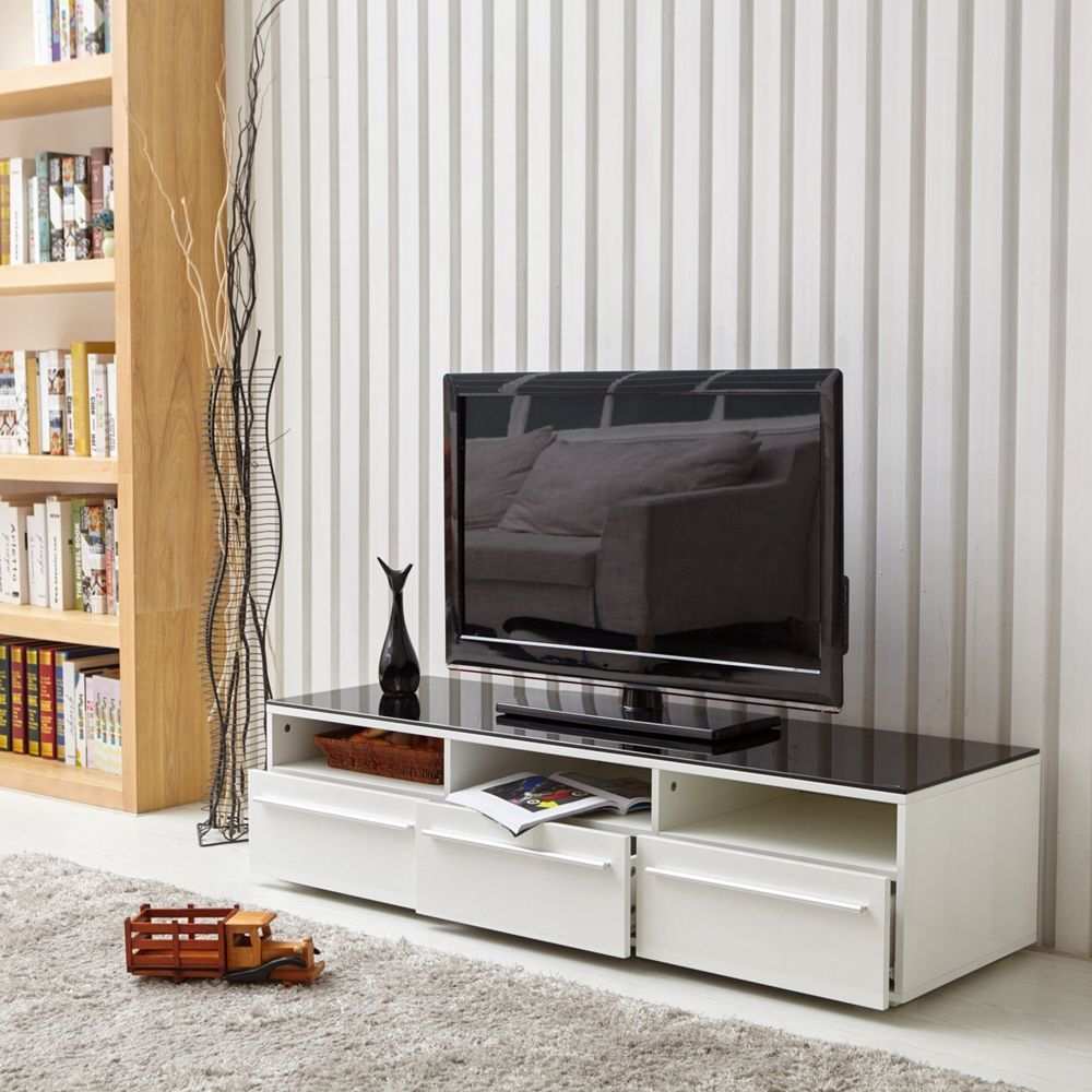 Aingoo Modern Tv Stand White And Black Coffee Table Glass Tv Stand With 3 Drawers For 32 Tv Stand And Coffee Table Set Tv Stand And Coffee Table Glass Tv Stand [ 1000 x 1000 Pixel ]