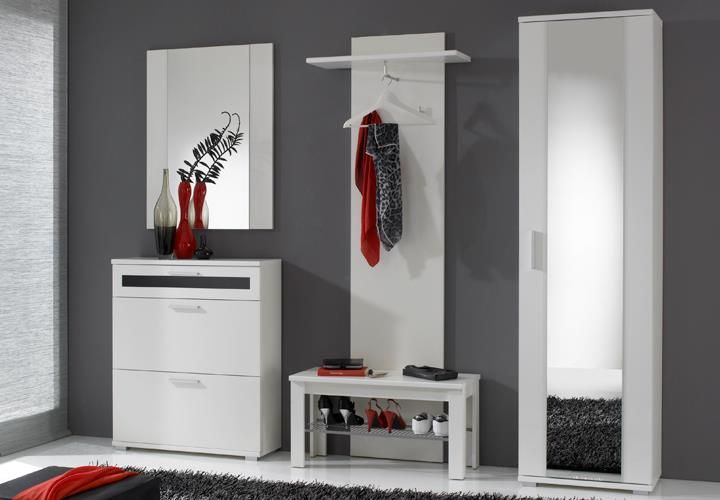 Garderobenschrank Solido In Weiss Dekor Mit Spiegel Flurschrank Mit Kleiderstange Online Mobel Garderobenschrank Flurschrank