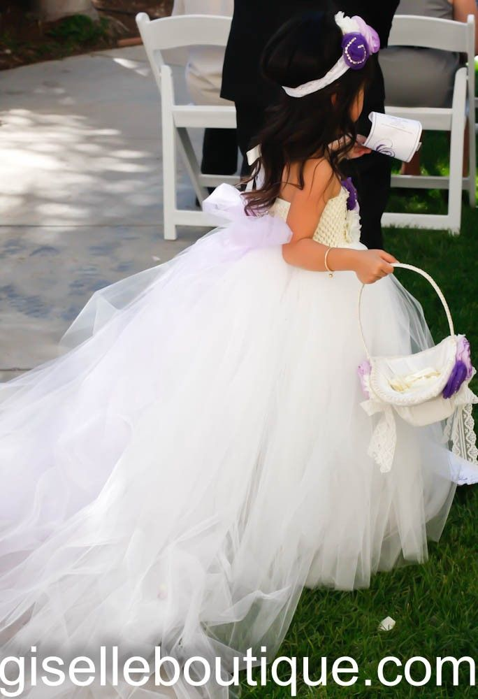 Flower girl dress. Off White Flowers TuTu Dress with handmade flowers. Does not include Bow