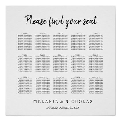 Simple color changeable wedding seating chart - white gifts - color chart template