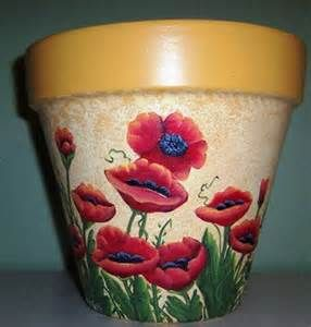 Hand Painted Clay Pot/Planter w/Red Poppies by ShadesofCountry