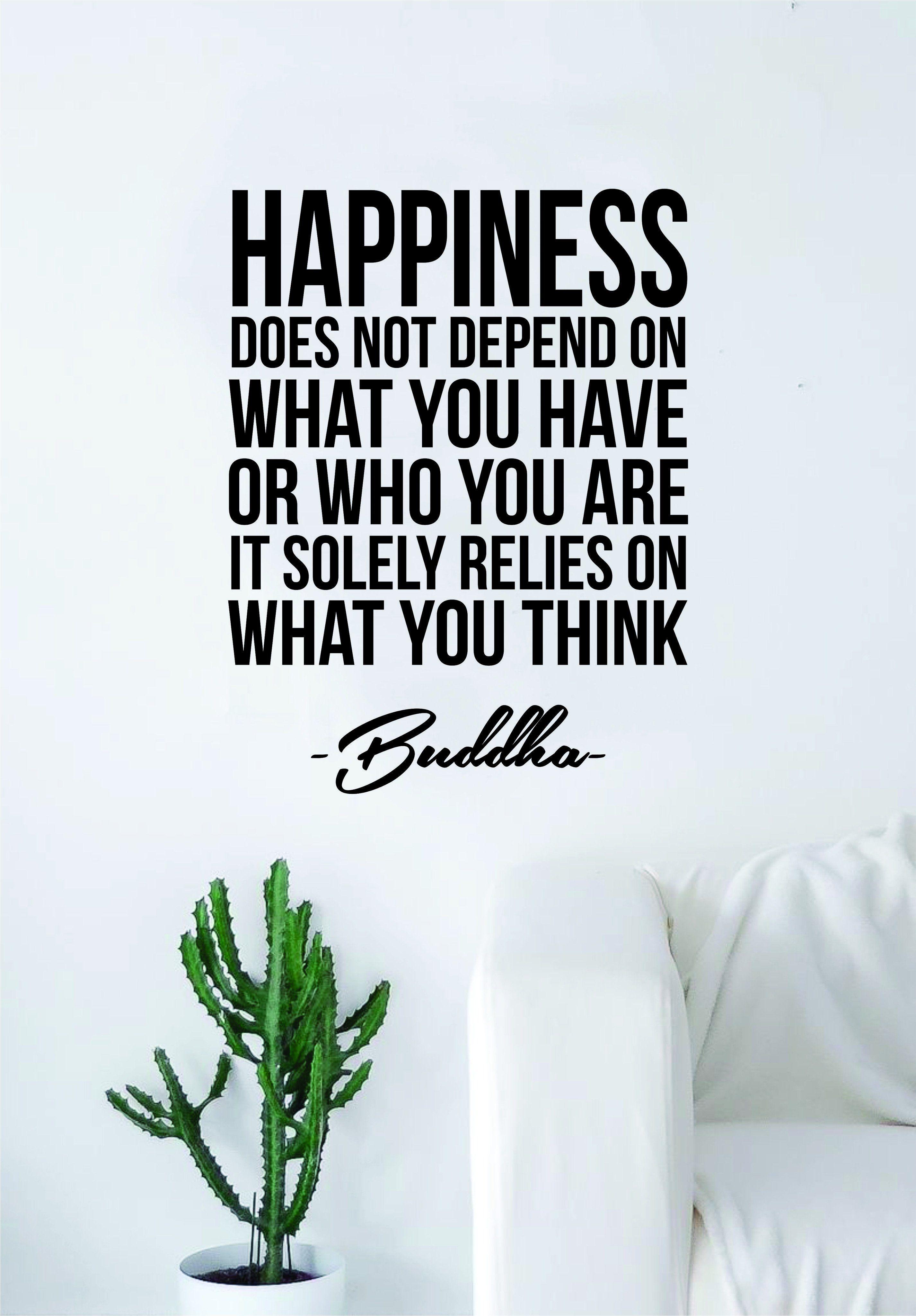 Buddha Happiness v2 Quote Wall Decal Sticker Vinyl Art Living Room Bedroom Decor Yoga Meditate Zen Inspirational - black