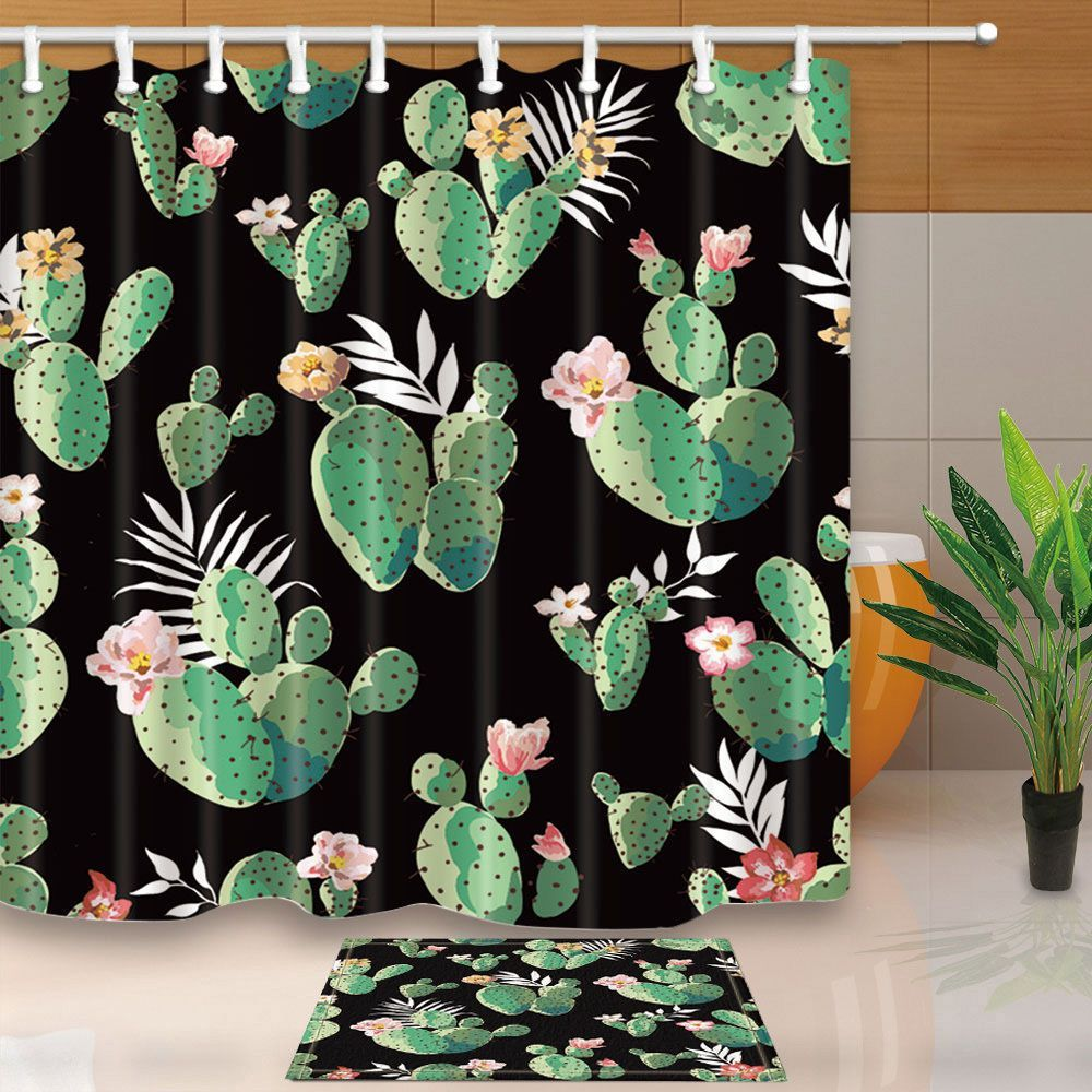 "71/""Waterproof polyester Shower Curtain with hooks set Bathroom Cactus decoration"