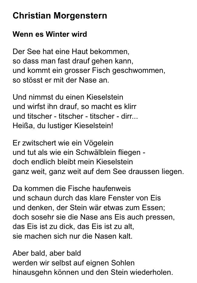 Christian Morgenstern Wenn Es Winter Wird Gedicht Winter