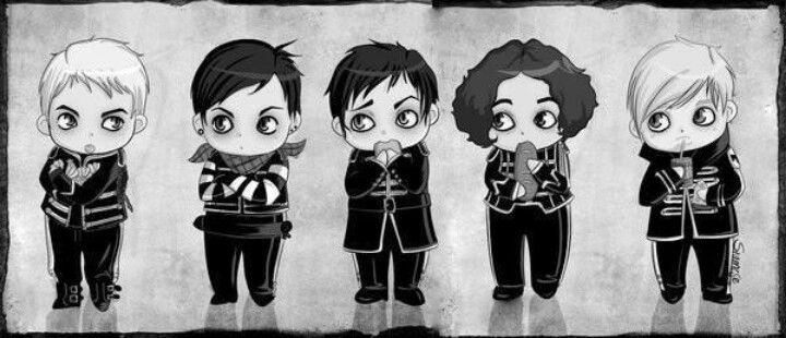 The Black Parade as chibis. MCR.   If only I could draw something like this.