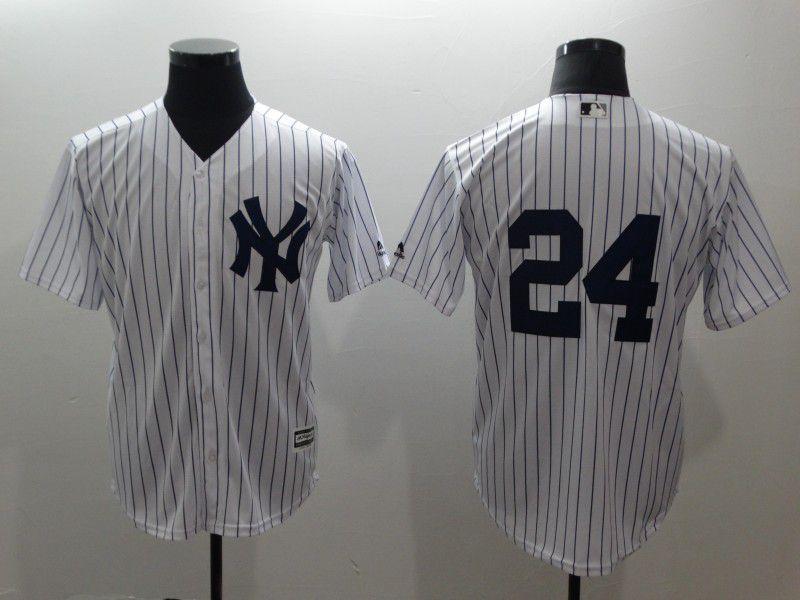 size 40 5b787 2e87c Men New York Yankees 24 No name White stripes Game MLB ...