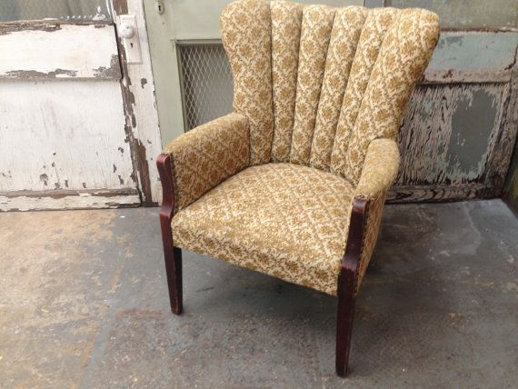 Vintage Channel Back Chair, Upholstered Armchair - Vintage Channel Back Chair, Upholstered Armchair Armchairs
