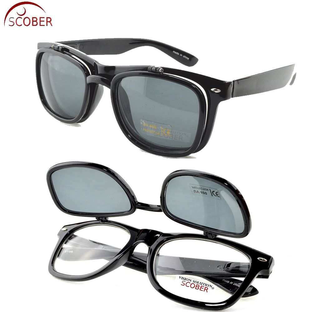 6725ff85511 SCOBER   Flip Double Reading Glasses Classic Retro Flip Up Down Sunglasses  Multi-purpose Eyeglasses +1 +1.5 +2 +2.5 +3 +3.5 +4 Retro old fashion plus  ...