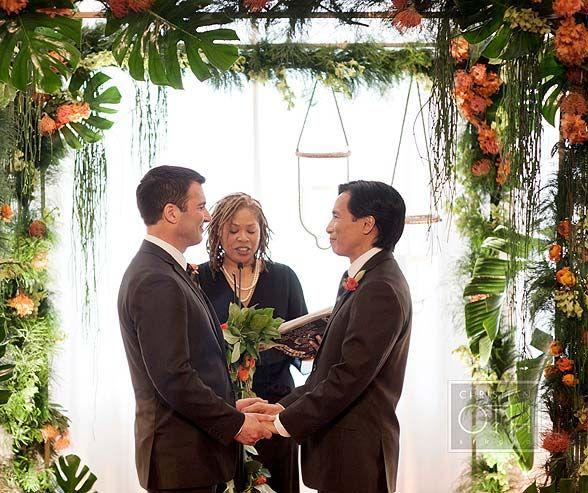 Wedding Altar Groomsmen: Lunch Wedding, Tropical, Orange, Masculine