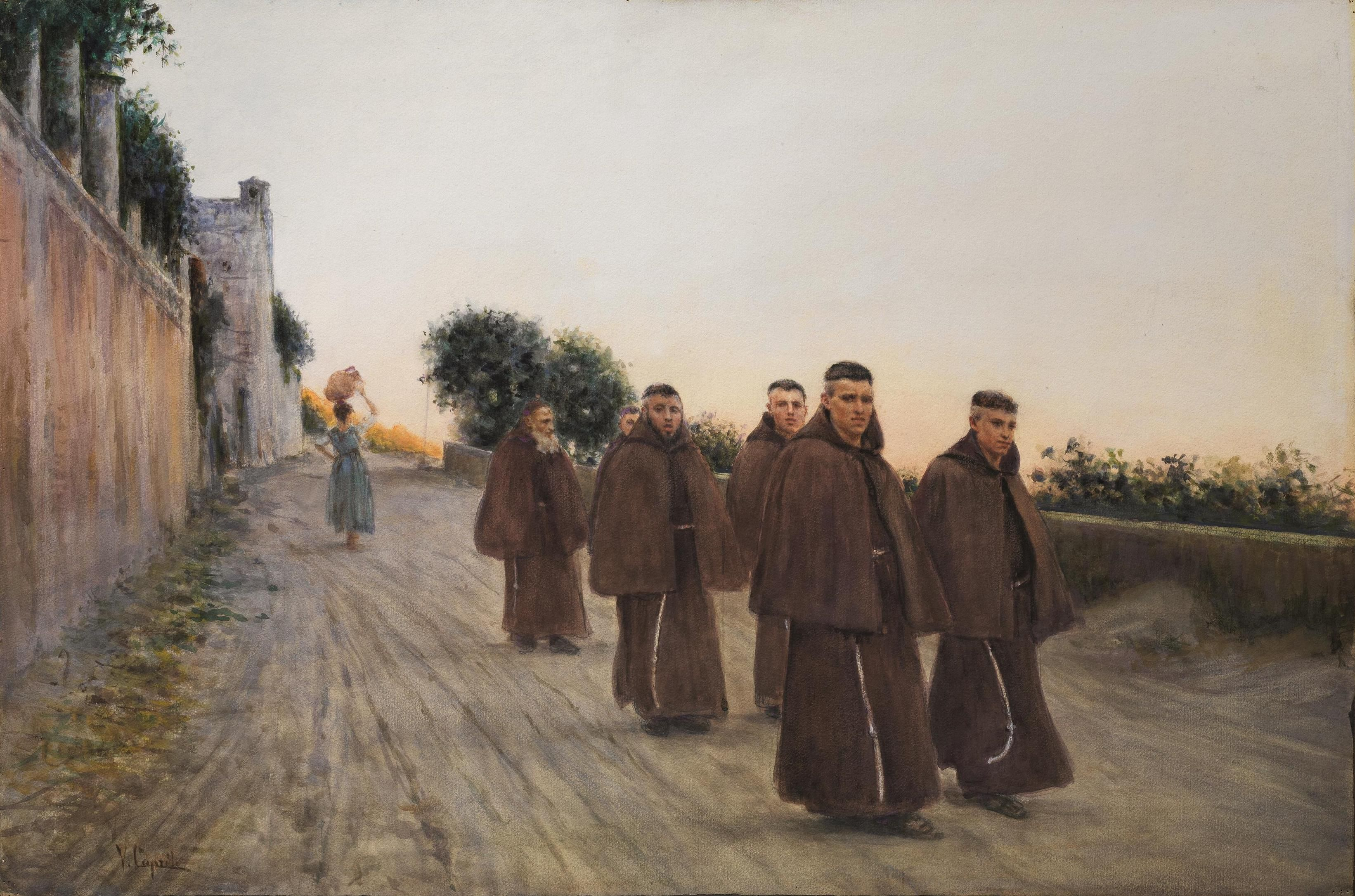 Vincenzo Caprile (Naples 1856-1936) COUNTRY ROAD WITH THE FRIARS.