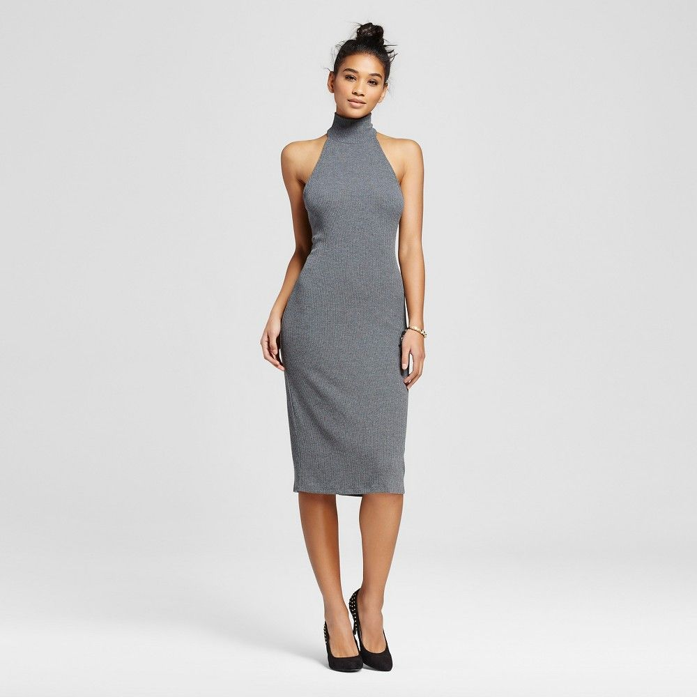 Women S Ribbed Mockneck Midi Bodycon Dress Charcoal Midi Dress Bodycon Bodycon Dress Fashion [ 1000 x 1000 Pixel ]