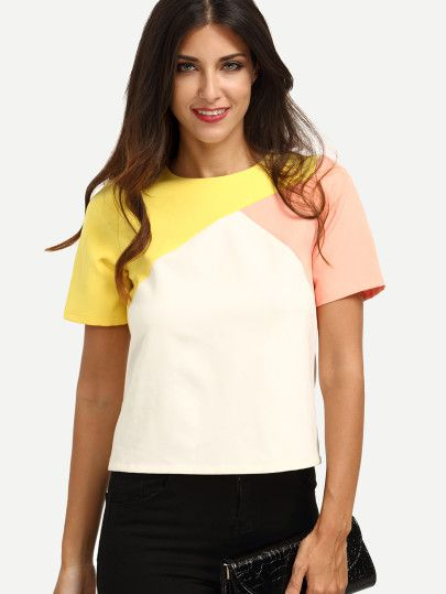 233bbba5f5e2a0 Multicolor Short Sleeve Zipper T-shirt | Fashion | Blusas, Modelos ...