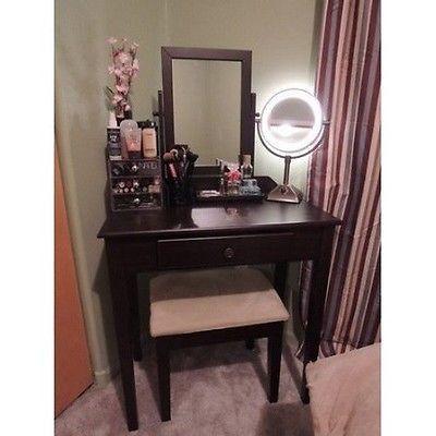 Makeup Vanity Set Table Stool Drawer Bedroom Furniture Bench Chair