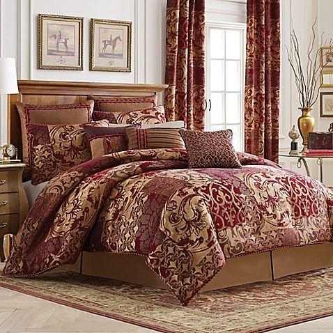 Croscill Ryland Reversible Queen Comforter Set In Red King - Croscill galleria king comforter set
