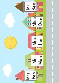 Word Families - Who Lives Here? 15 File Folder Games focused on short vowels. Cute idea for kids; they have to read the name on each house, find the correct picture, then fill in the response sheet. Sounds like lots of fun.