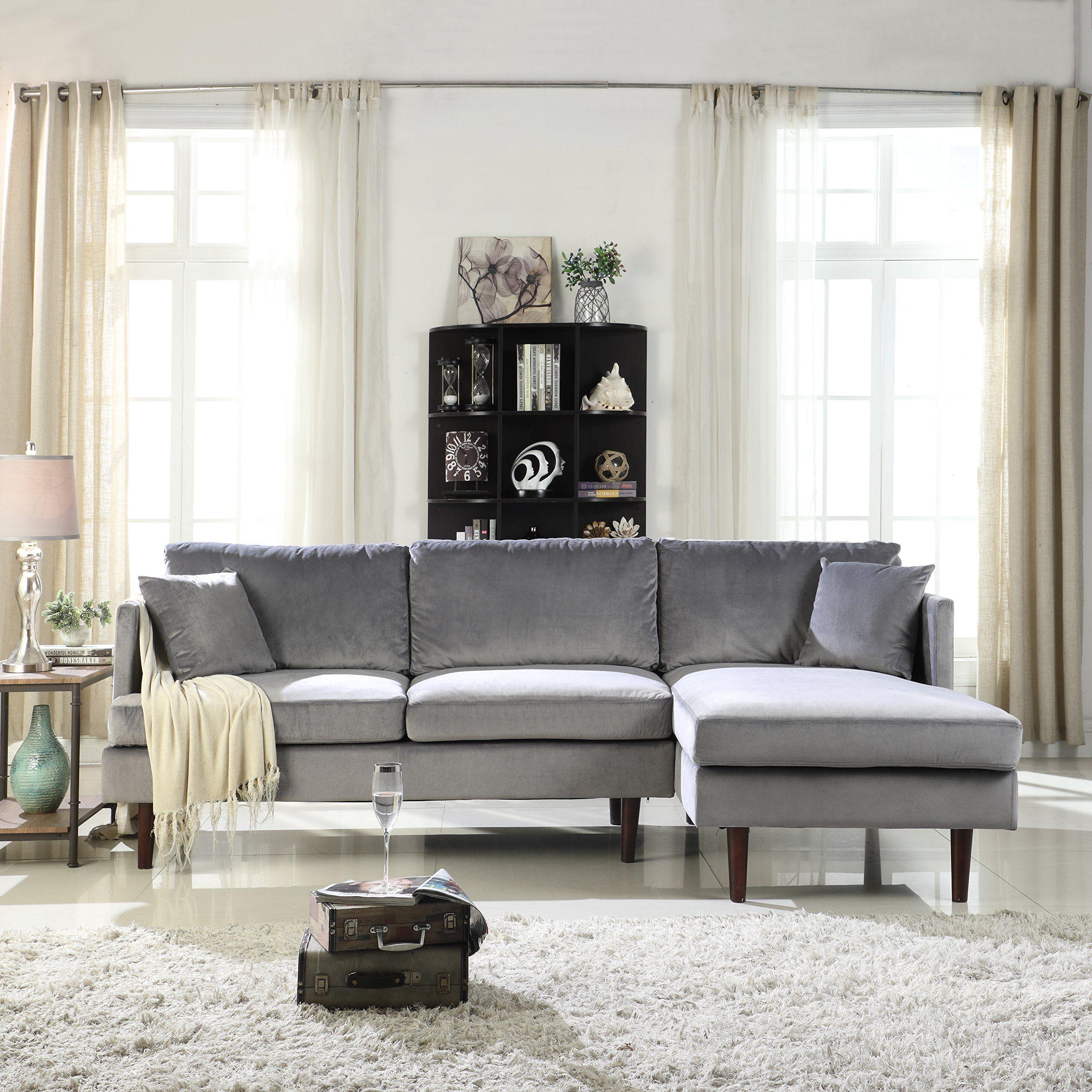 Sofamania Mid Century Modern Brush Microfiber Sectional Sofa L