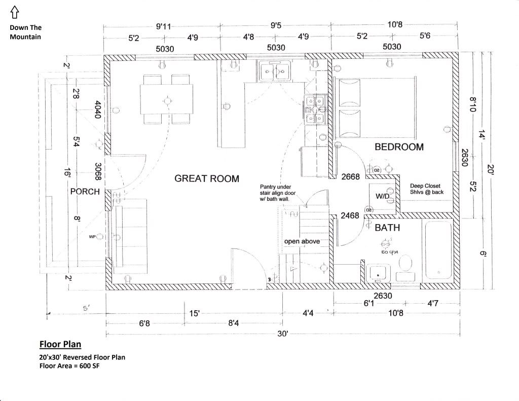 Lovely 20x30 Garage Plans #10: Floorplan 20x30 1.5 Story Cabin