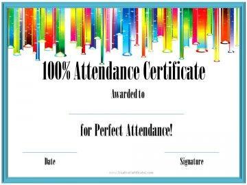 100 attendance school pinterest attendance certificate