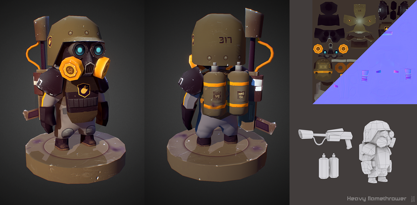 Small collection of low poly 3D military miniatures  | f