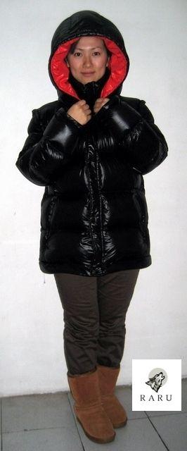 3 in 1 Weste Jacke Mantel in Wet Look Glanz Nylon | Puff