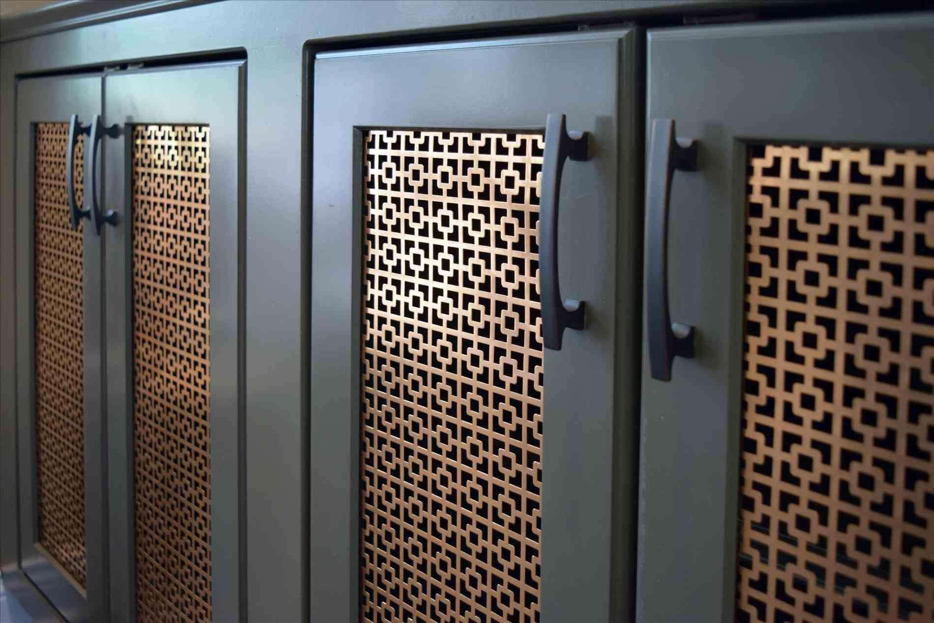 Doors Cabinet Door With Perforated Metal Screen For Jewlry Rack