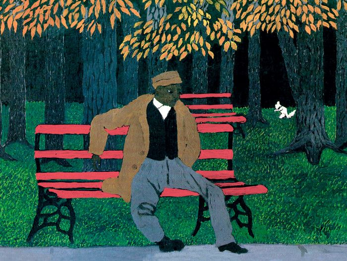 Man On A Bench By Horace Pippin Fine Art Print Naive Art