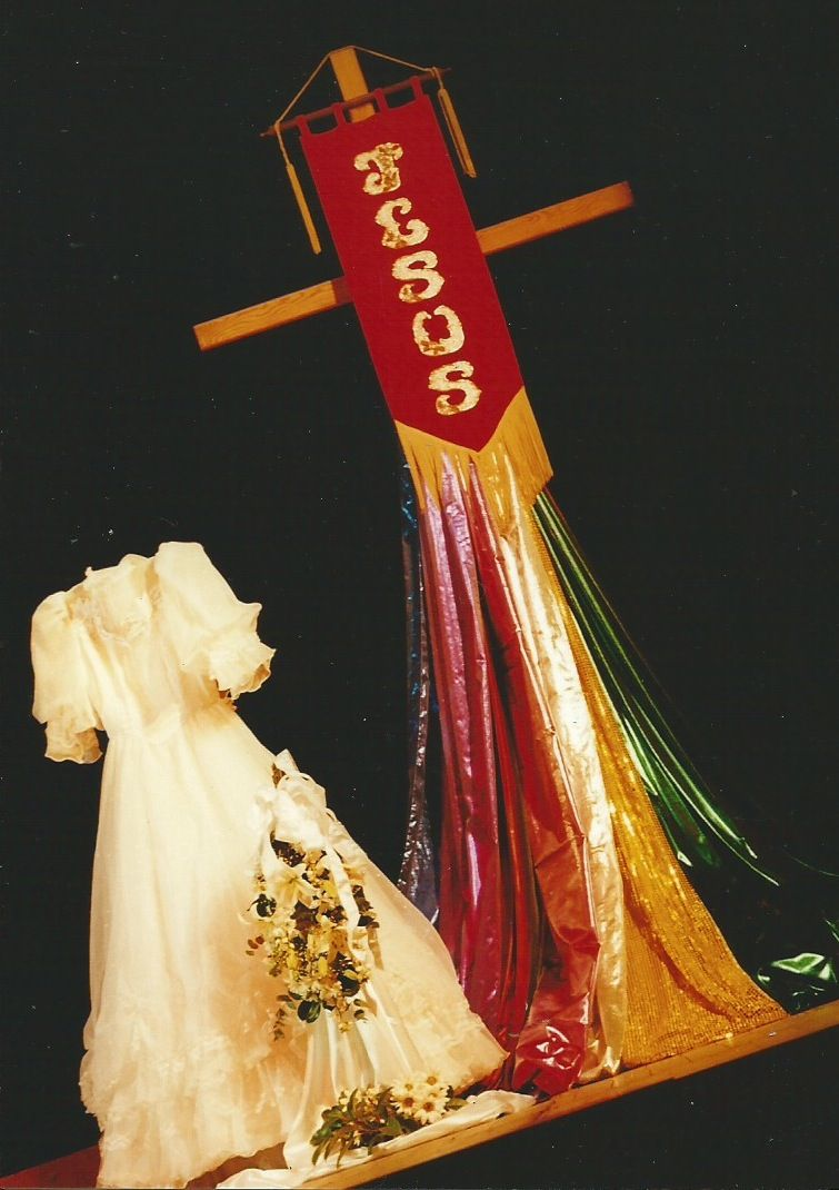 The Jesus banner made in Oamaru, New Zealand in 1984.  It is used her in a vignette of The Marriage Feast in the 2000 International Christian Dance Fellowship Conference, Mittagong...