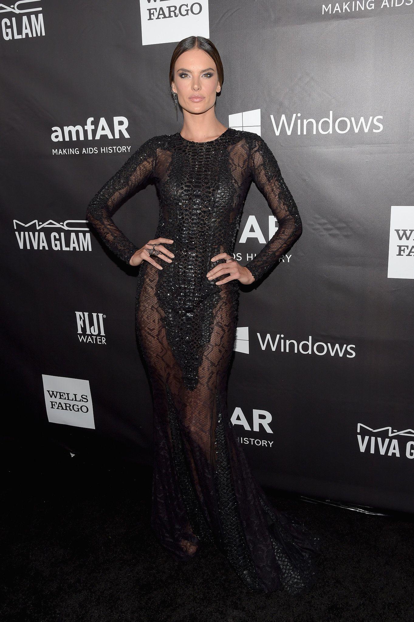 Alessandra Ambrosio in a Spring '15 Zuhair Murad dress at the 2014 amFAR Inspiration Gala.