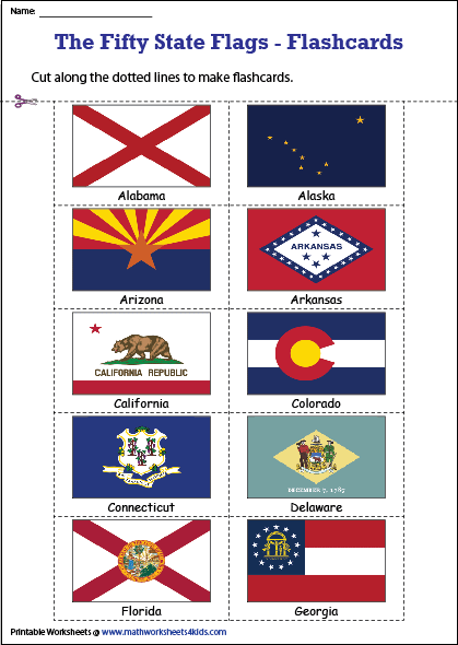 State Flags Of The U S Worksheets American State Flags State Flags Us States Flags