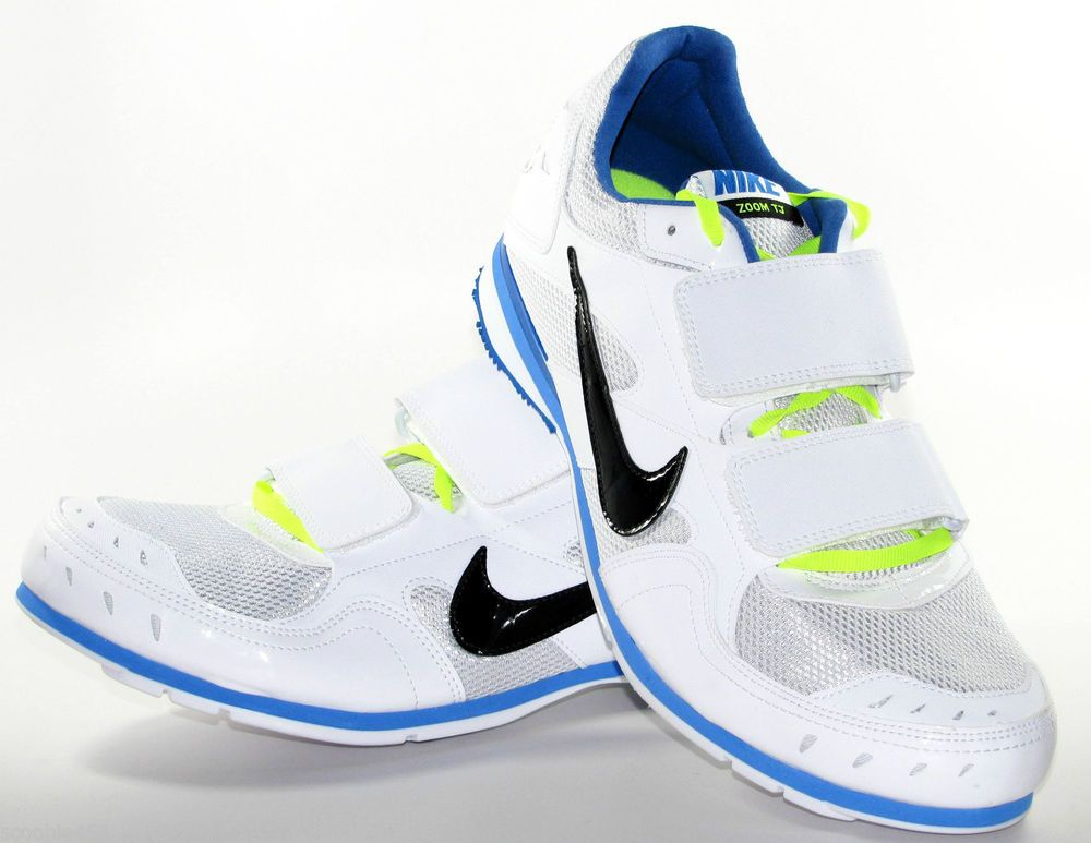 Mens Nike Zoom TJ 3 Triple Jump Spikes Size 12 White/Blue/Volt