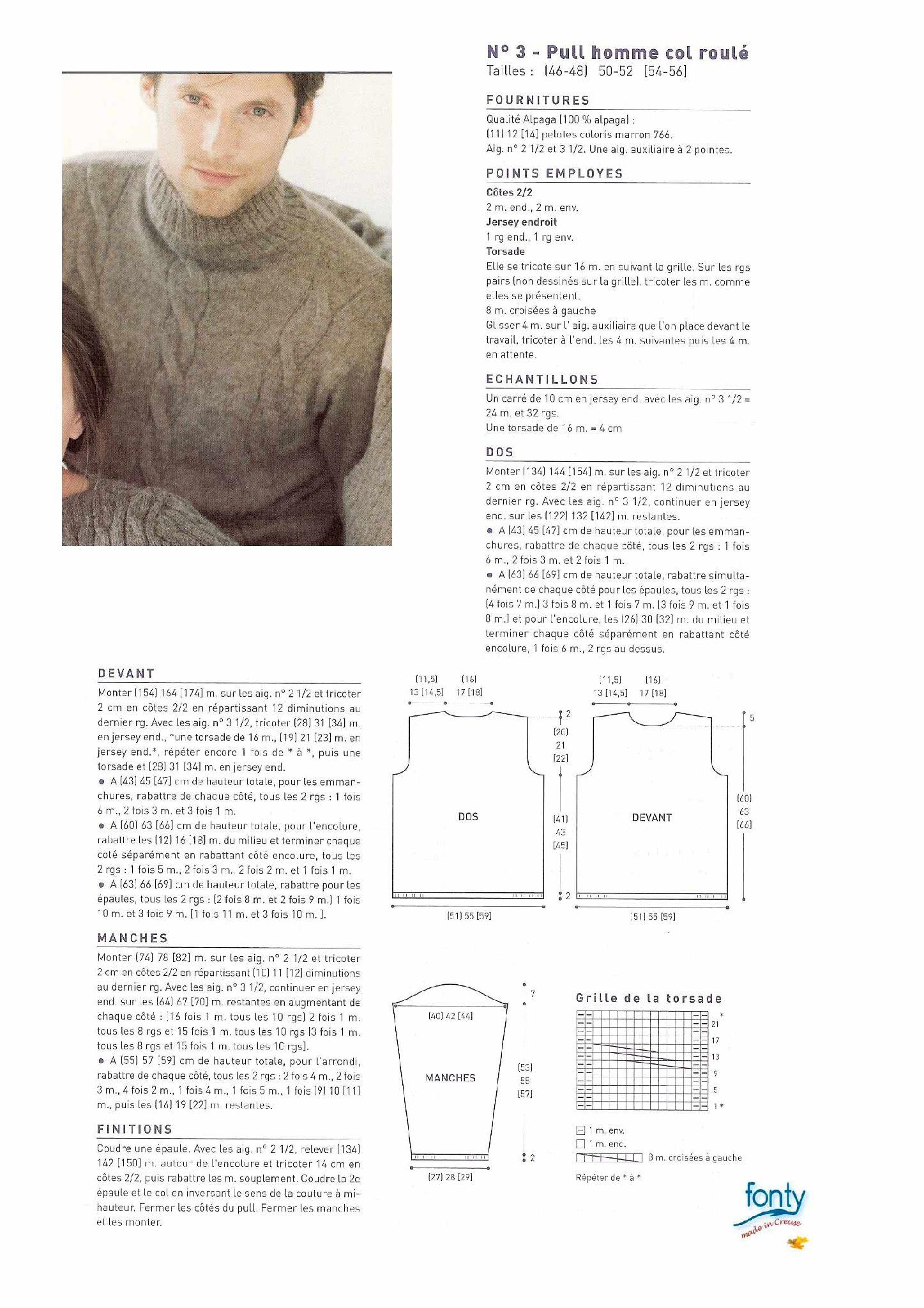 Modele tricot gratuit pull homme col roule alpaga | Tricot-Homme ...