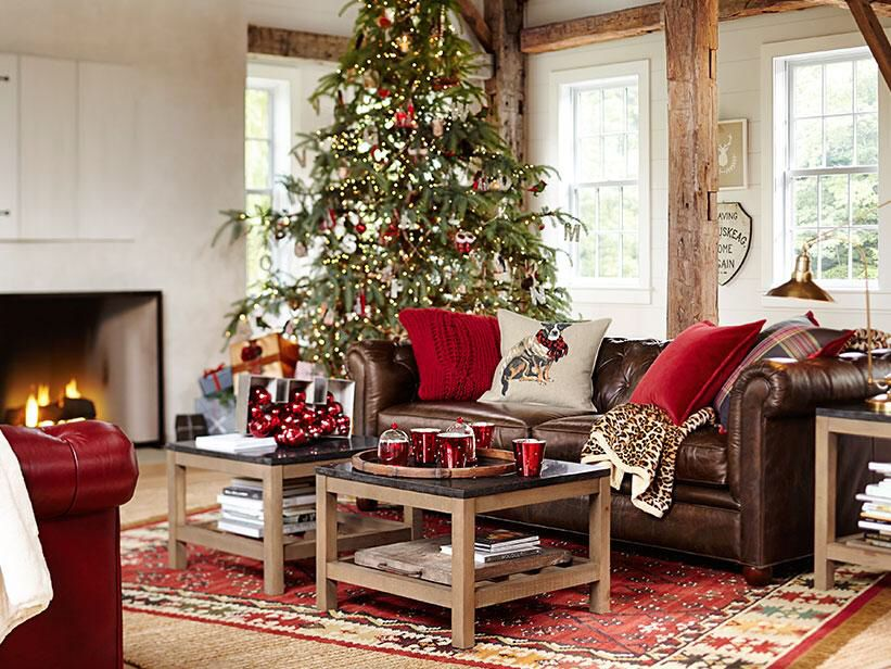 Leather Sofa Inspiration Pottery Barn Christmas Living
