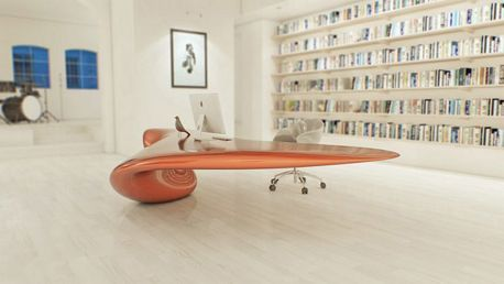 Futuristic Office Table Design With Large Book Rack Furniture