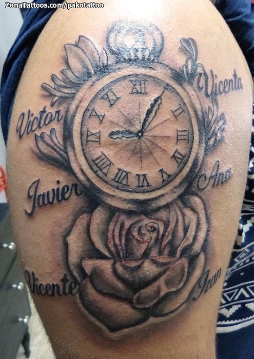 Foto Tatuaje Relojes Nombres Rosas Tatoos