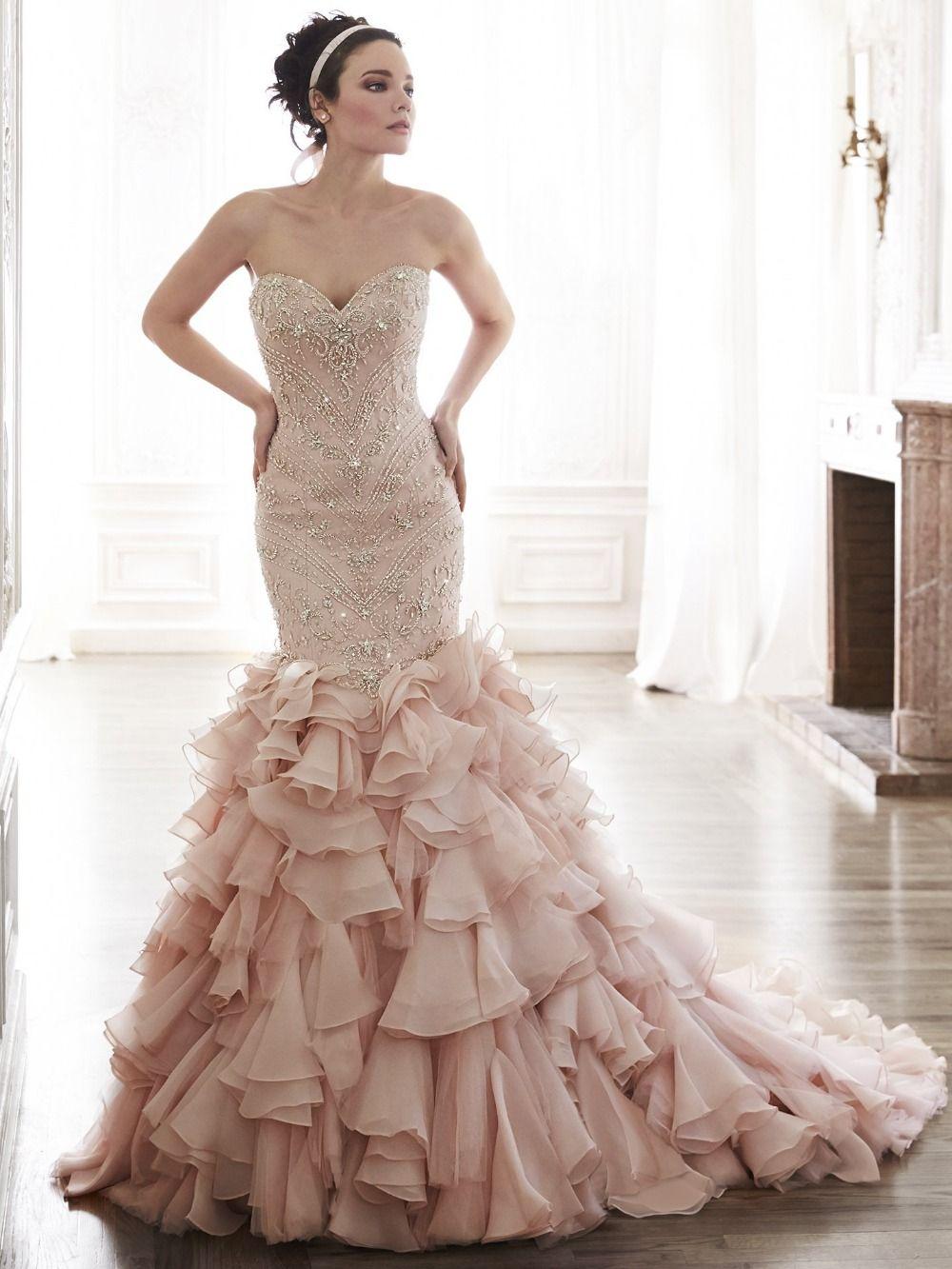 Mermaid ruffle wedding dress  Click to Buy ucuc  Elegnat Pink Mermaid Wedding Dresses Sexy