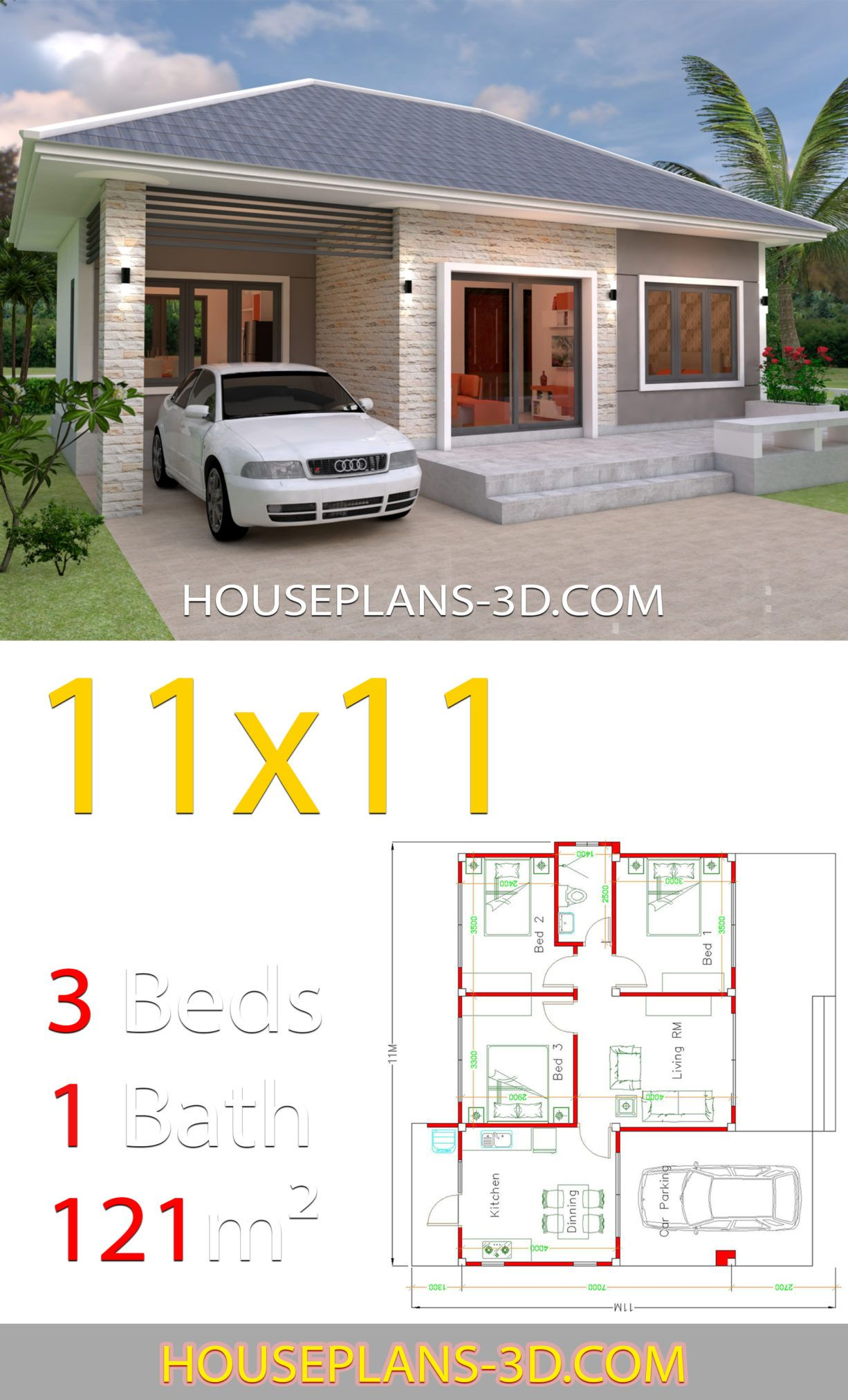 Simple House Design Plans 11x11 With 3 Bedrooms Full Plans House Plans 3d In 2020 Simple House Design Architectural House Plans House Plans