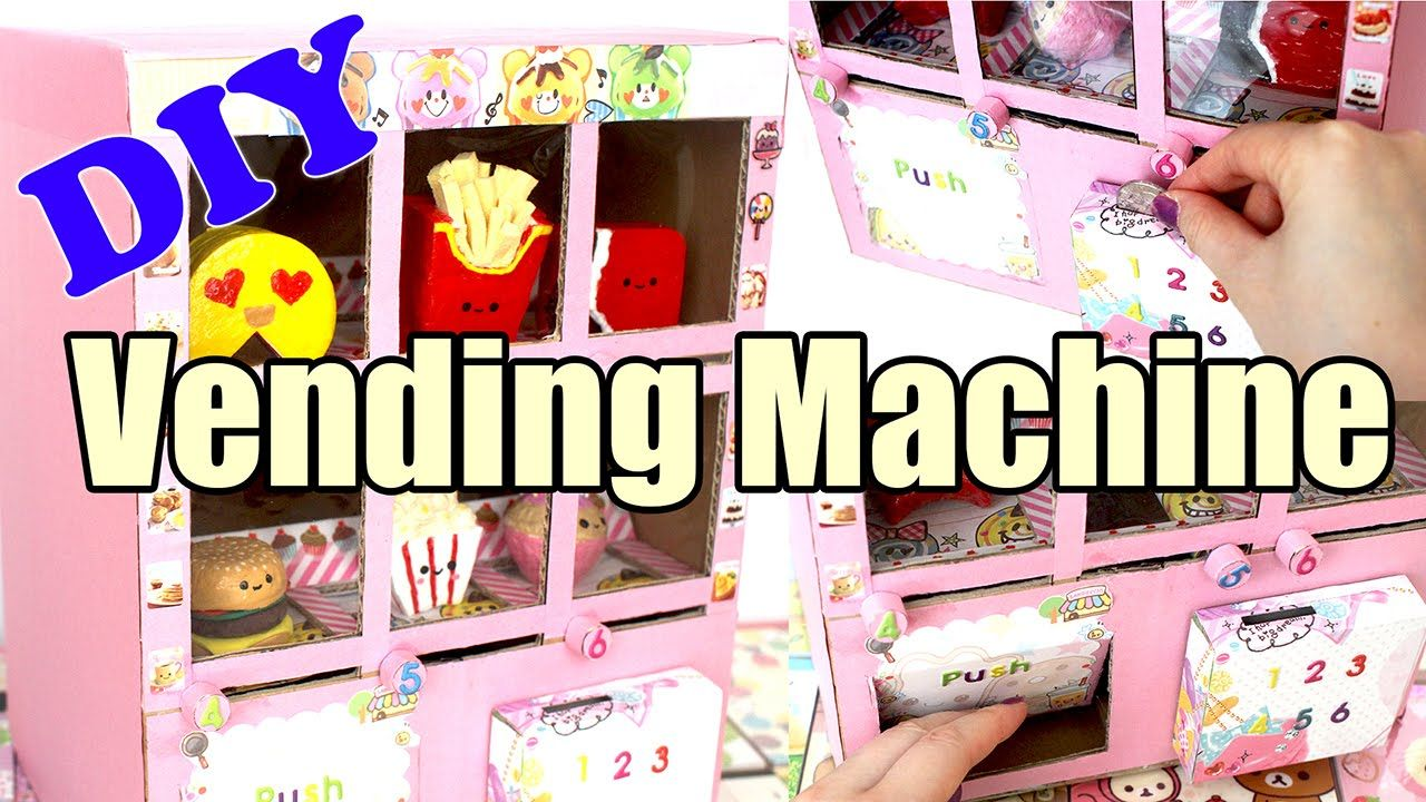 Diy Squishy Vending Machine Tutorial Cardboard Homemade Squishies Diy Vending Machine Diy Vending Machine