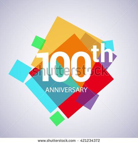 100th anniversary logo, 100 years anniversary colorful vector design. geometric background. - stock vector