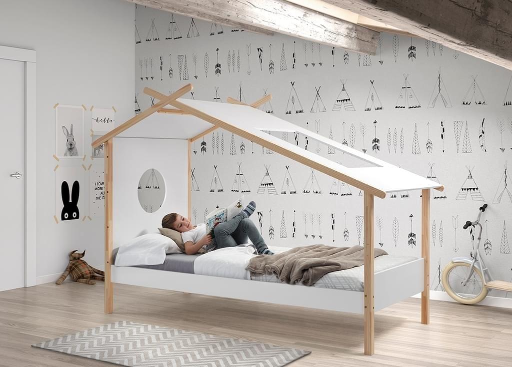 Vipack Zelt Bett Cocoon 90 X 200 Cm Weiß Natur Zelt Bett
