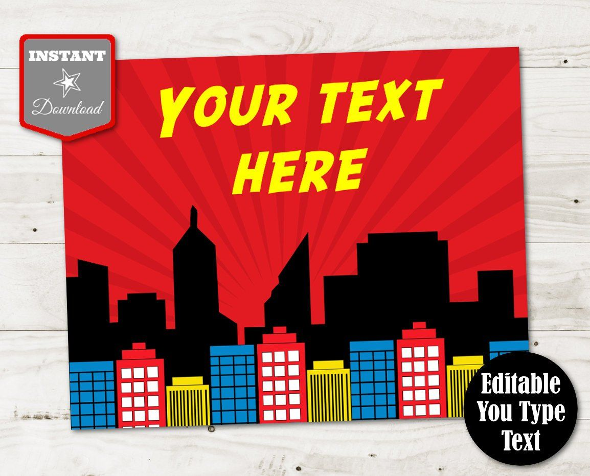 INSTANT DOWNLOAD Superhero Printable 8x10 Sign / Editable - You Type