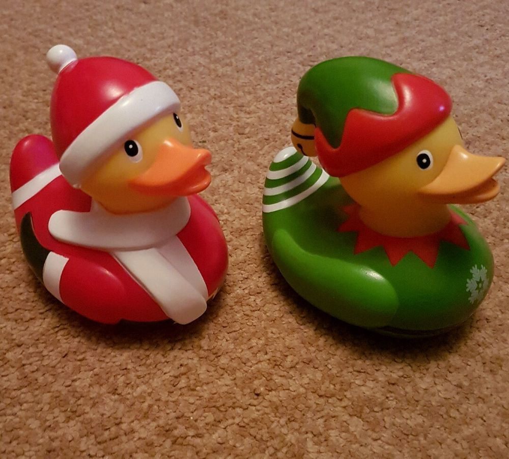 santa and elf rubber ducks Christmas present father Christmas ...
